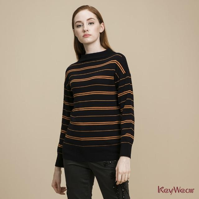 【KeyWear 奇威名品】100%羊毛雙橫條紋酒樽領長袖毛衣