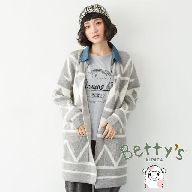 【betty's 貝蒂思】牛仔領幾何圖紋長版開襟毛料大衣(淺灰)