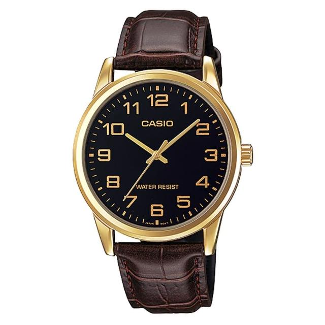【CASIO 卡西歐】經典商務型男數字指針真皮腕錶(MTP-V001GL-1B)