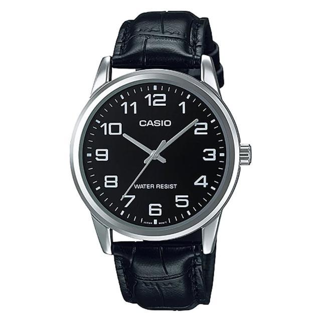 【CASIO 卡西歐】經典商務型男數字指針真皮腕錶(MTP-V001L-1B)