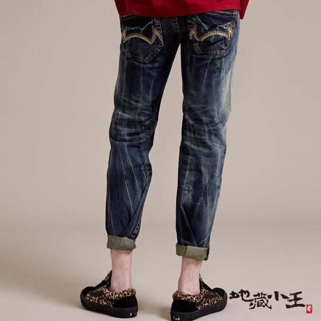 【BLUE WAY】地藏惡魔文字精繡低腰直筒褲