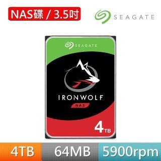 【SEAGATE 希捷】哪嘶狼IronWolf 4TB 3.5吋 NAS專用硬碟(ST4000VN008組合專用)