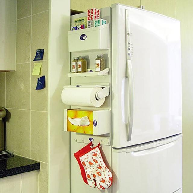 冰箱磁吸式收納5件組(紙巾架、鉤物架、調味瓶架、收納架、面紙盒架)