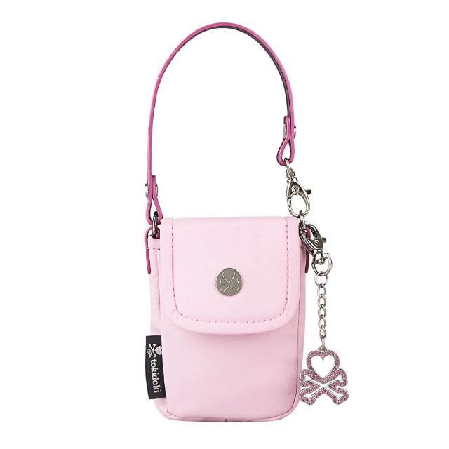 【TOKIDOKI】經典黑LOGO反光日系塗鴉風格尼龍手提扣式手機包(粉紅)