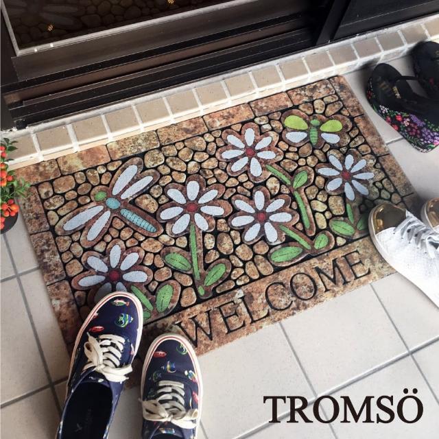 【TROMSO】戶外植絨橡膠厚實刮泥大地墊-春日花語(戶外地墊踏墊)