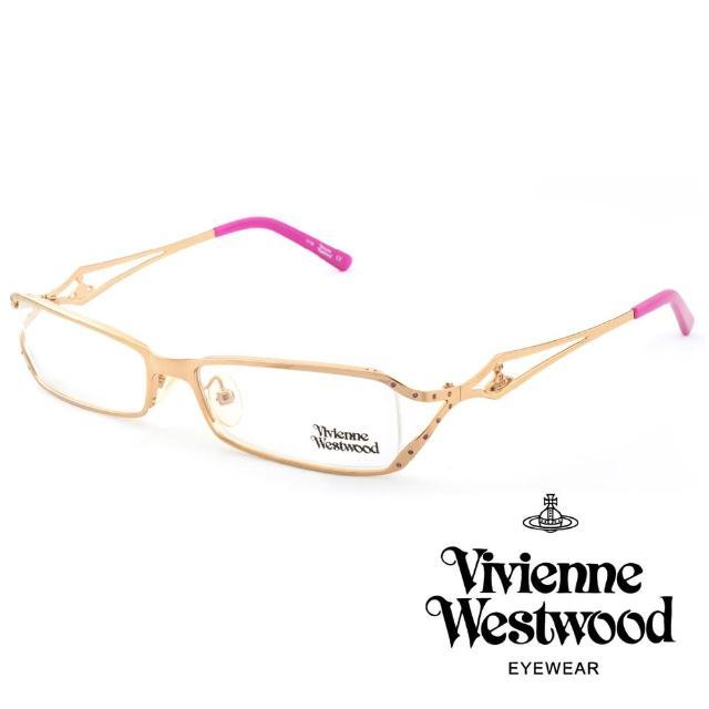 【Vivienne Westwood】英國薇薇安魏斯伍德★金屬浮雕土星造型★光學眼鏡(金+粉紅 VW107-03)