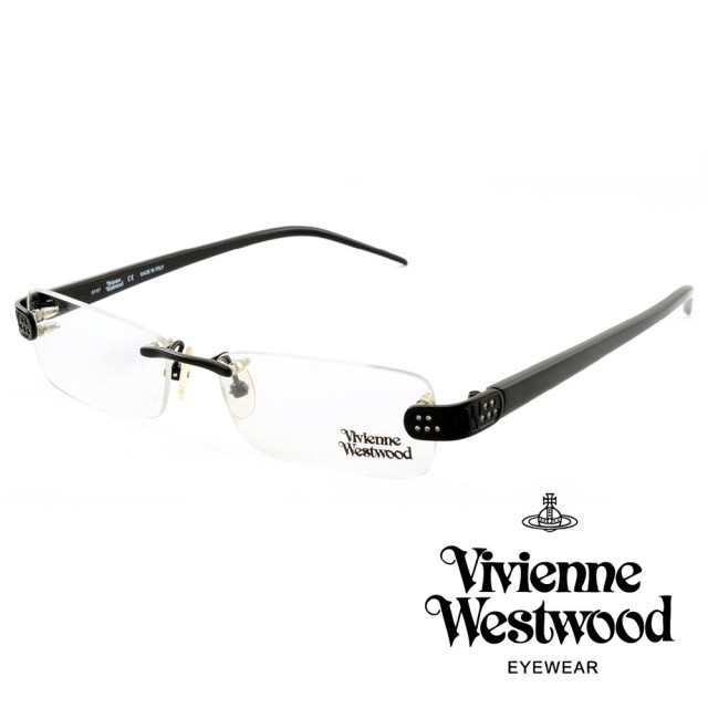 【Vivienne Westwood】英國薇薇安魏斯伍德★立體金屬標誌圓孔造型★光學眼鏡(黑色 VW111-01)