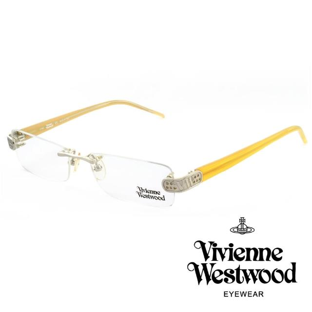 【Vivienne Westwood】英國薇薇安魏斯伍德★立體金屬標誌圓孔造型★光學眼鏡(黃色 VW111-02)