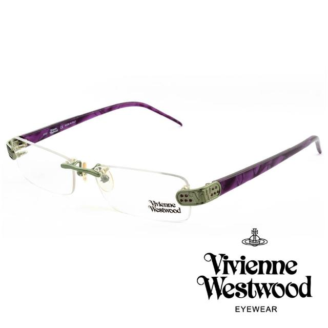 【Vivienne Westwood】英國薇薇安魏斯伍德★立體金屬標誌圓孔造型★光學眼鏡(紫色 VW111-03)