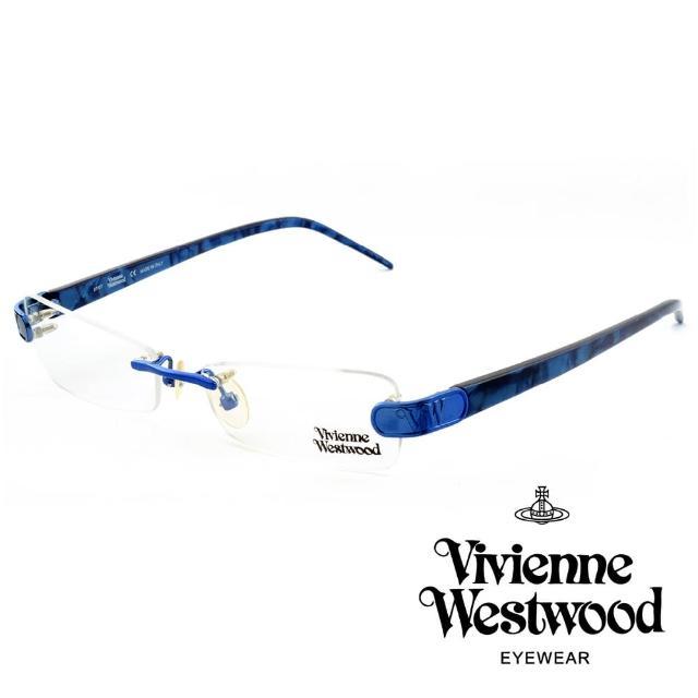 【Vivienne Westwood】英國薇薇安魏斯伍德★立體金屬標誌造型★光學眼鏡(波紋藍 VW110-04)