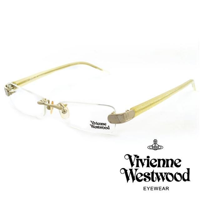 【Vivienne Westwood】英國薇薇安魏斯伍德★立體金屬標誌造型★光學眼鏡(白+金粉 VW110-03)