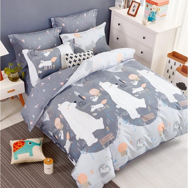 【Pure One】台灣製 100%純棉 - 單人床包枕套兩件組 PureOne - 北極熊