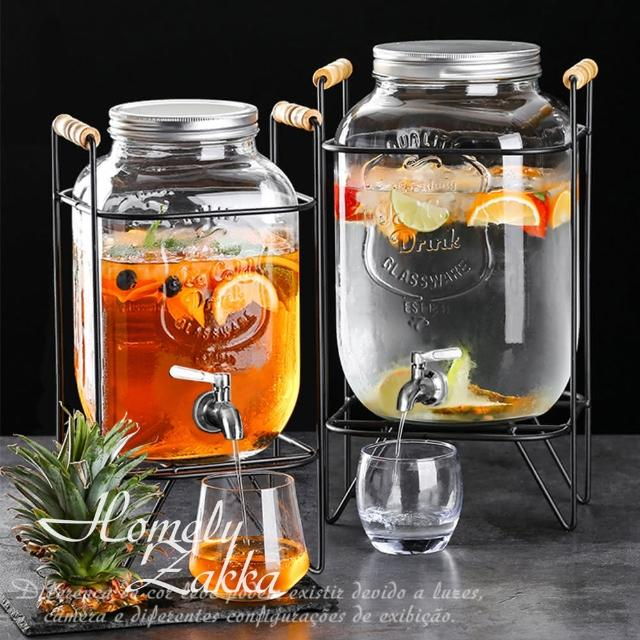【Homely Zakka】享樂食光大容量浮雕玻璃桶調酒/飲料桶(4L經典圖標款/不鏽鋼水龍頭/贈鐵桶飲料架)