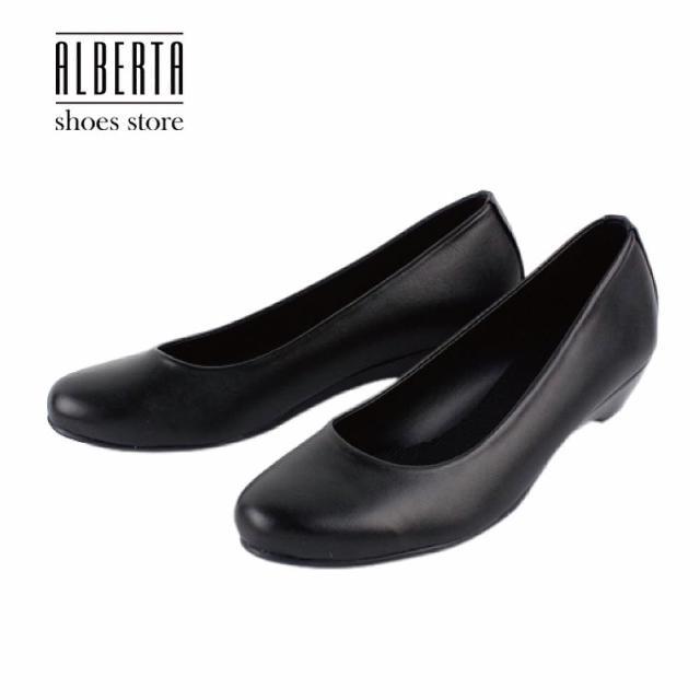 【Alberta】MIT台灣製OL上班族好搭素面霧面漆皮坡跟圓頭包鞋娃娃鞋低跟鞋(黑)