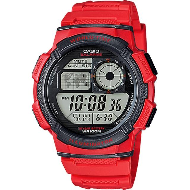 【CASIO 卡西歐】10-YEAR BATTERY菁英部隊電子腕錶-紅/42mm(AE-1000W-4AVDF)