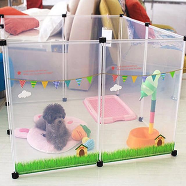 【寵物貴族】日系正品高質感寵物柵欄/寵物圍欄/寵物圍籬/寵物窩/寵物籠(清新雲朵最新款-2組)