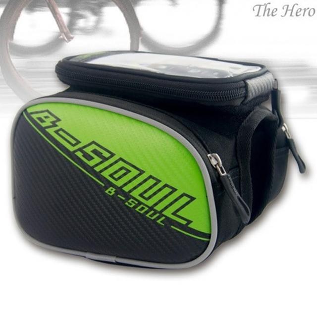 【May Shop】b-soul山地自行車皮革前橫梁包上車管包手機觸屏包騎行裝備(5.5吋)
