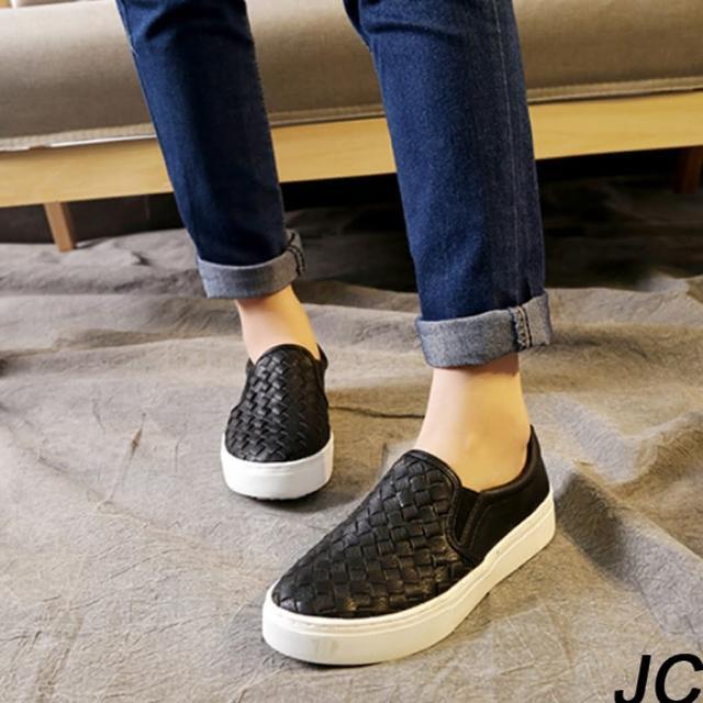 【JC Collection】樂福質感編織厚底耐磨懶人鞋(黑色、白色)