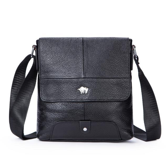 【DRAKA 達卡】黑色時尚 - 真皮斜背包(44DK91915538)