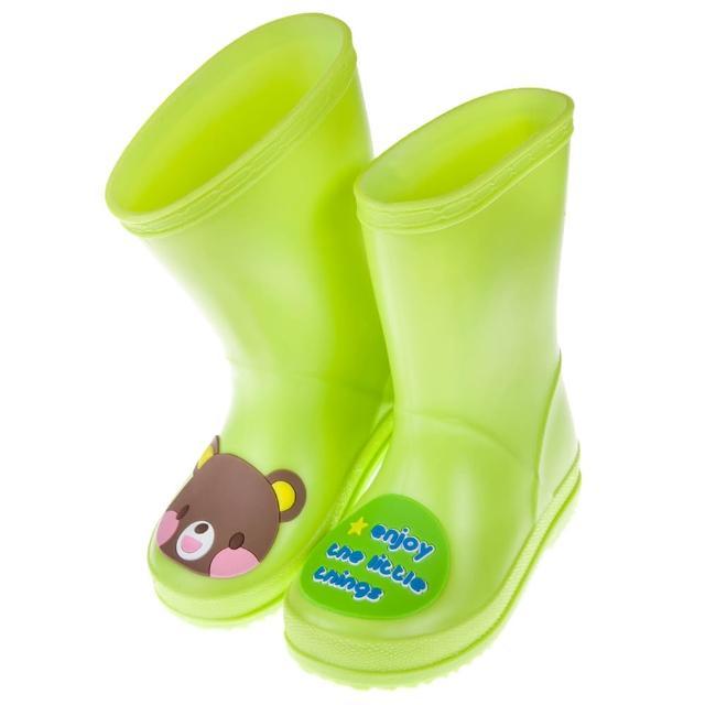 【布布童鞋】巧克力小熊青蘋果綠色兒童橡膠雨鞋(O7Z117C)