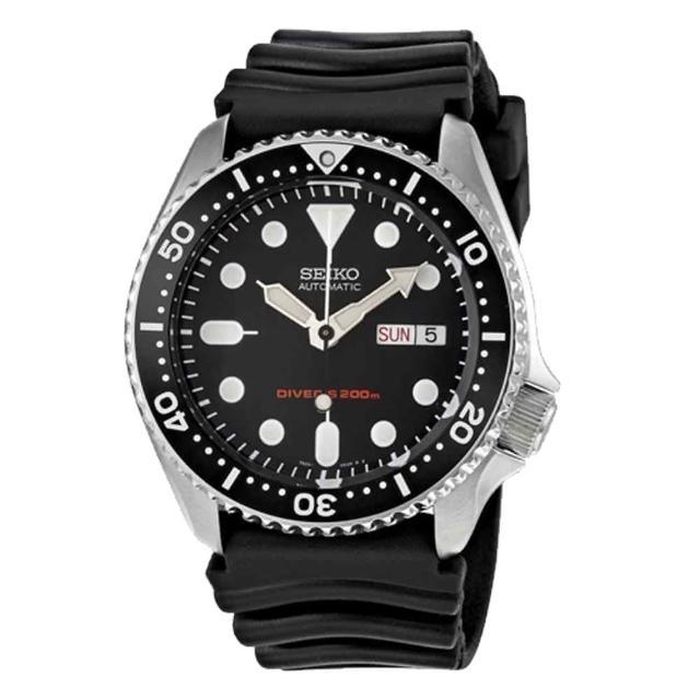 【SEIKO 精工】海馬 DIVERS 機械橡膠錶 日期 200米防水 鎖芽式龍頭 潛水 男錶(SKX007K1)