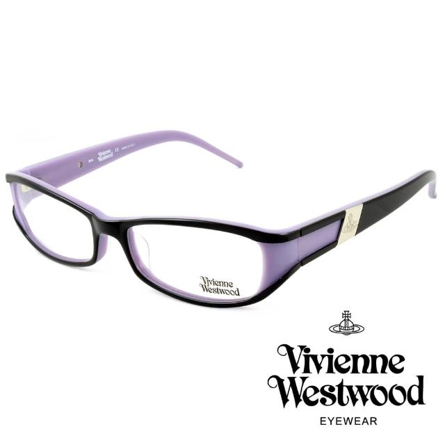 【Vivienne Westwood】英國薇薇安魏斯伍德英倫時尚★黑框線條金屬土星設計光學眼鏡(紫 VW115-01)