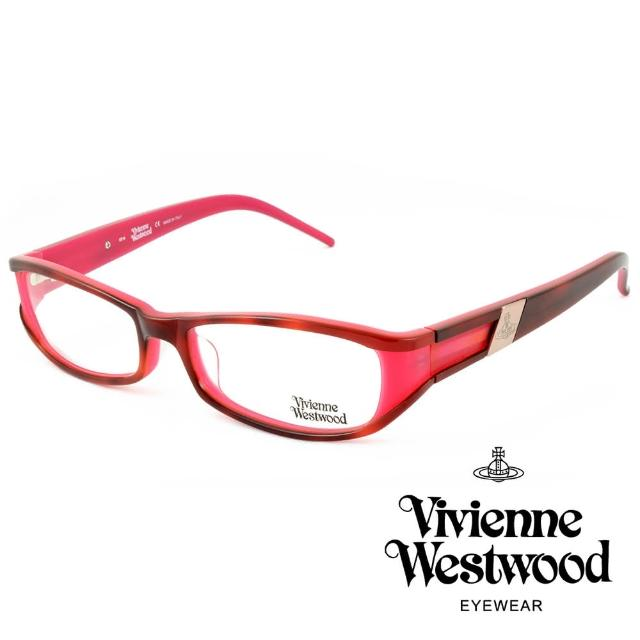 【Vivienne Westwood】英國薇薇安魏斯伍德英倫時尚★黑框線條金屬土星設計光學眼鏡(桃紅 VW115-02)
