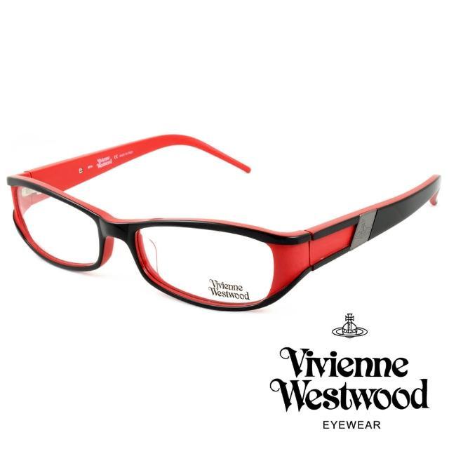 【Vivienne Westwood】英國薇薇安魏斯伍德英倫時尚★黑框線條金屬土星設計光學眼鏡(紅 VW115-03)