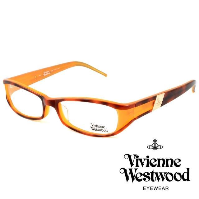 【Vivienne Westwood】英國薇薇安魏斯伍德英倫時尚★黑框線條金屬土星設計光學眼鏡(琥珀黃 VW115-04)