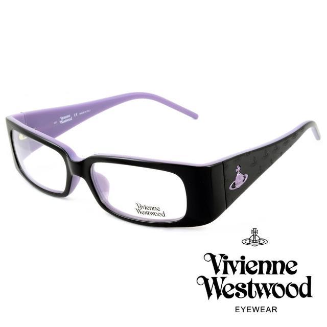 【Vivienne Westwood】英國薇薇安魏斯伍德英倫搖滾★立體土星壓紋光學眼鏡(黑+紫 VW116-02)