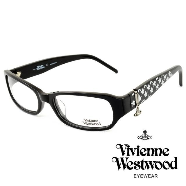 【Vivienne Westwood】英國薇薇安魏斯伍經典星型圖案★立體懸掛土星吊飾光學眼鏡(黑 VW117-01)