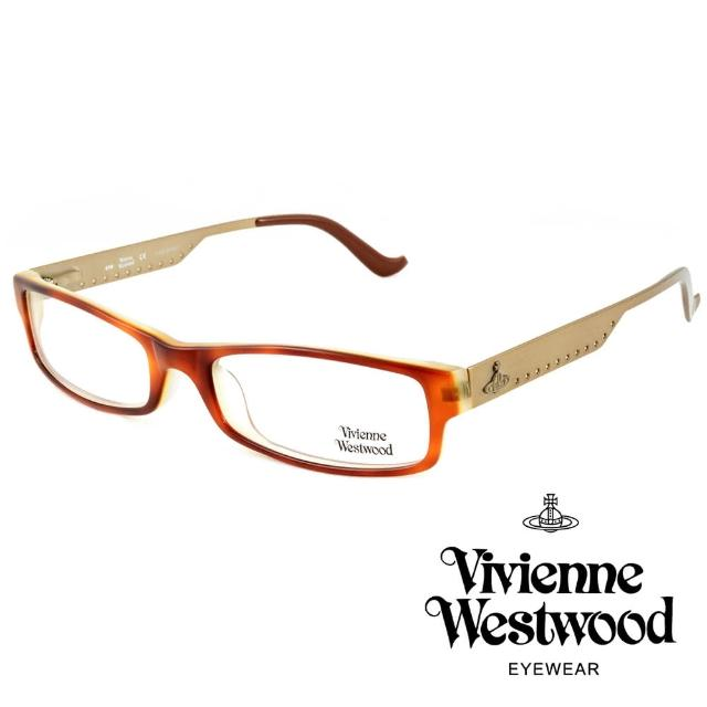【Vivienne Westwood】英國薇薇安魏斯伍德側邊復古金圓點★土星圖案光學眼鏡(咖啡+橘 VW120-01)