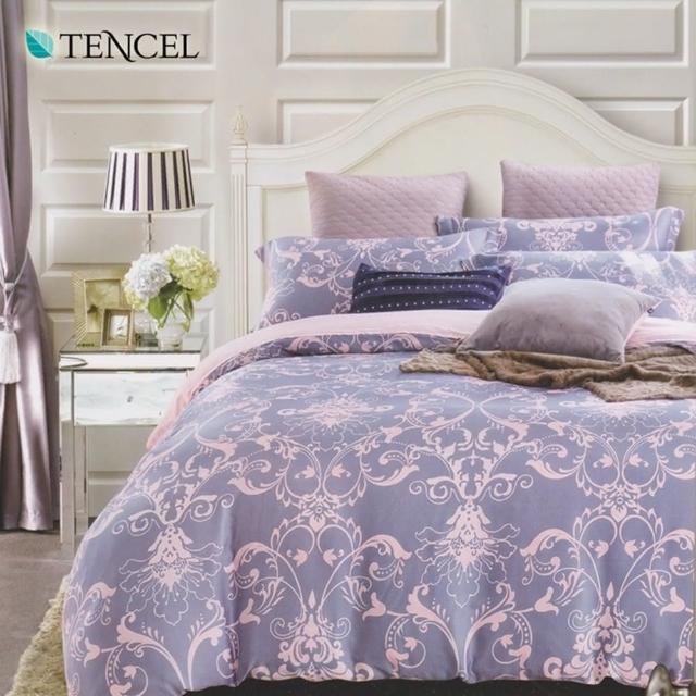 【幸福晨光】100%天絲雙人六件式兩用被床罩組-藤夢花季