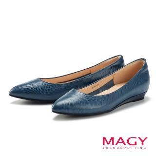 【MAGY】清新氣質款 親膚舒適尖頭平底鞋(藍色)