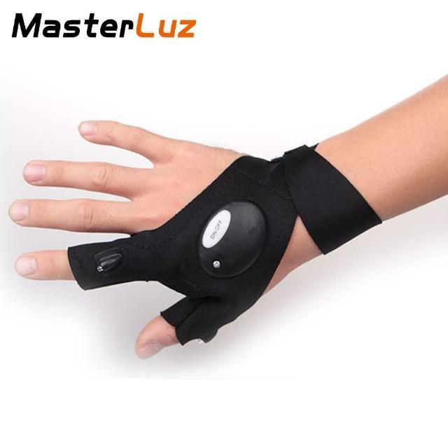 【MasterLuz】G12 戶外照明LED夜釣帶燈釣魚手套(附鋰電池與充電器)