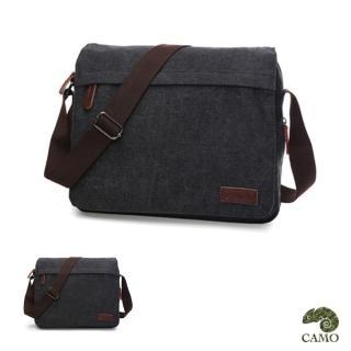 【CAMO】韓版帆布可擴充側背包電腦包(黑色)