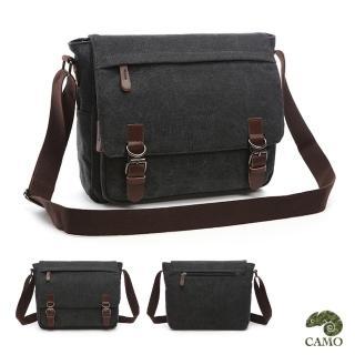 【CAMO】韓版帆布14寸側背包電腦包(黑色)