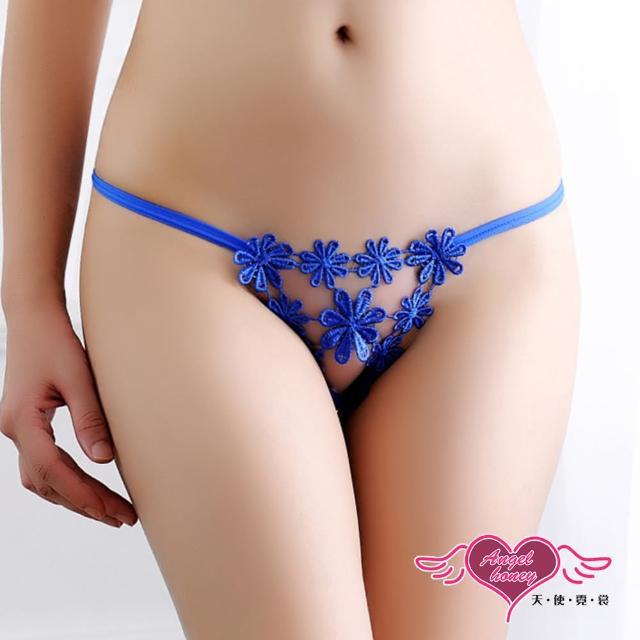 【Angel 天使霓裳】丁字褲 小花朵朵 性感鏤空日系丁字內褲(深藍F)
