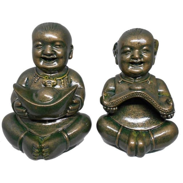 【KC】黃楊木雕刻品-古銅漆色金童玉女2入組(C5-1)