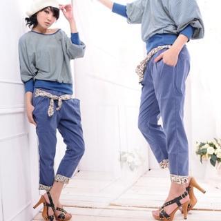 【Lady c.c.】氣質反摺褲管花緞帶七分哈倫褲(藍)