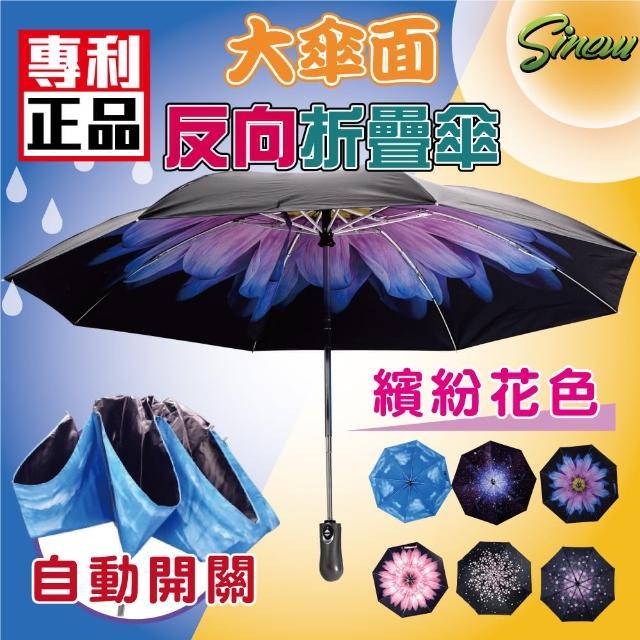 【新錸家居】1入自動開關反向摺疊晴雨傘(8骨花色款-抗uv反向自動伸縮晴雨傘)