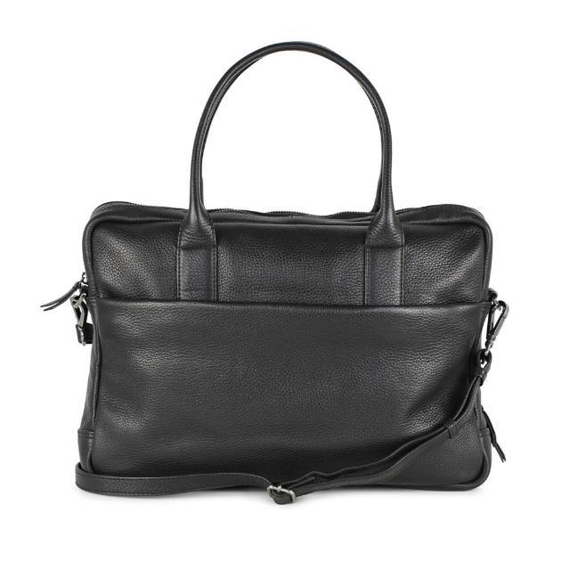【MARKBERG】Ash 丹麥手工牛皮率性公事包 斜背包/手提包(極簡黑)