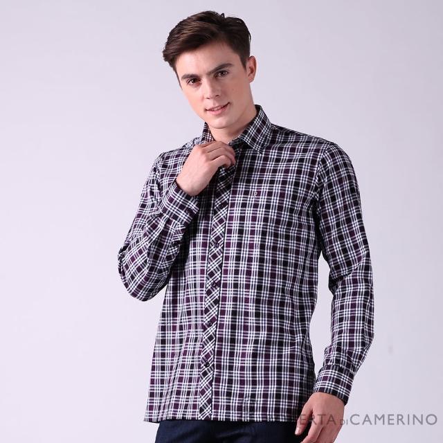 【ROBERTA 諾貝達】台灣製 休閒型男 純棉格紋長袖襯衫(紫色)