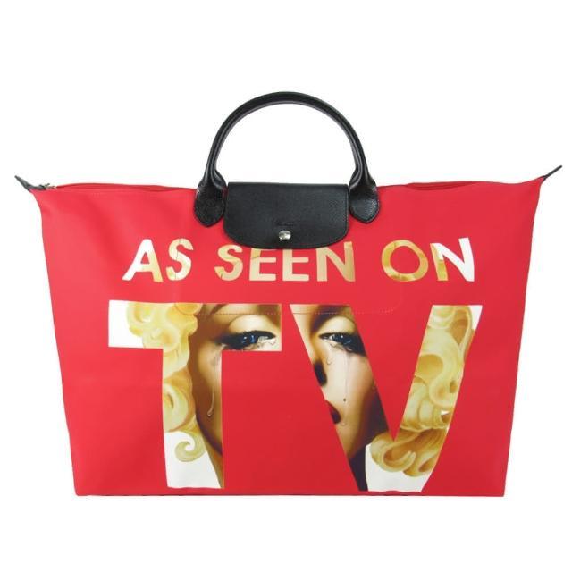 【LONGCHAMP】JEREMY SCOTT 系列帆布旅行袋(大/紅)