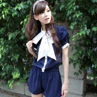 【Lady c.c.】爵色宮廷品味紗質連身褲裝(藍)