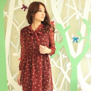【Lady c.c.】復古氣度點點柔紗長版洋裝(紅)