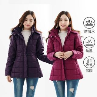 【遊遍天下】女款中長版極暖JIS90%羽絨防風防潑水方格羽絨外套 贈收納袋(M-3L)