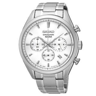 【SEIKO 精工】不鏽鋼錶殼 錶帶 石英男錶(SSB221P1)