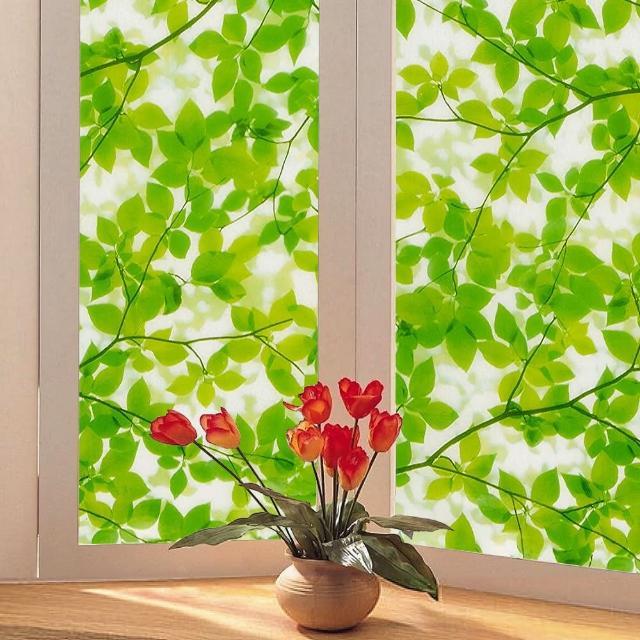 【meiwa】日本製造抗UV節能靜電窗貼(綠葉盈窗 92x200公分)