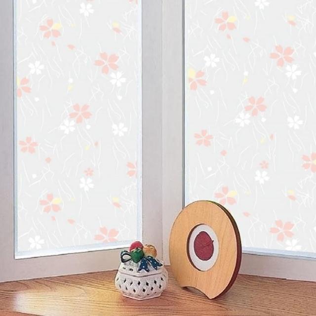 【meiwa】日本製造抗UV節能靜電窗貼(日式小花- 92x200公分)